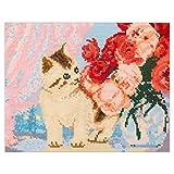 刺繍キット 藤久オリジナル こねこのクロスステッチ バラが大好き