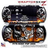 Chrome Skulls on Fire WraptorSkinz Skin and Screen Protector Kit fits Sony  ....
