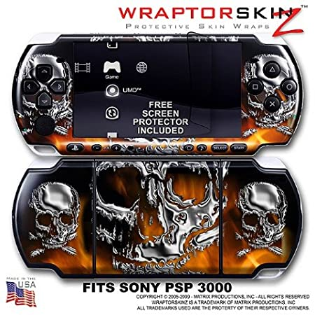 Chrome Skulls on Fire WraptorSkinz Skin and Screen Protector Kit fits Sony PSP 3000