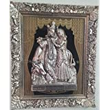Laps Of Luxury - Radha And Krishna God Idol Wall Hanging Photo Frame In Golden Colour Finish