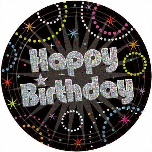 "Amscan Time to Party Birthday Celebration Square Plates, 7"", Black/Multicolor"