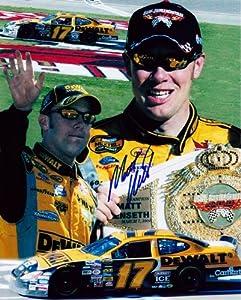 Buy AUTOGRAPHED 2004 Matt Kenseth #17 DeWalt Racing LAS VEGAS WIN (UAW Daimler-Chrysler 400) SIGNED NASCAR 9X11 Hero Card w ... by Trackside Autographs