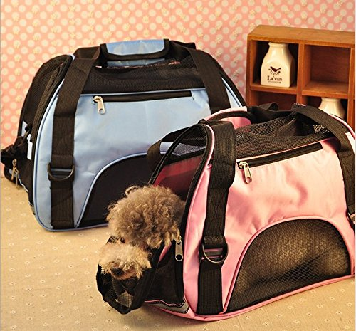 O-five Airline-approved Traveldog Pet Carrier (Hold up to 15lb), Mesh Ventilation Soft Washable Fleece Tote/travel Bag/duffle Bag -With 2 Openings + Shoulder Strap Great for Travel (Blue)