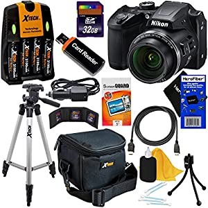 Nikon COOLPIX B500 Wi-Fi, NFC Digital Camera w/40x Zoom & HD Video (Black) - International Version (No Warranty) + 4 AA Batteries with Charger + 10pc 32GB Dlx Accessory Kit w/ HeroFiber Cleaning Cloth