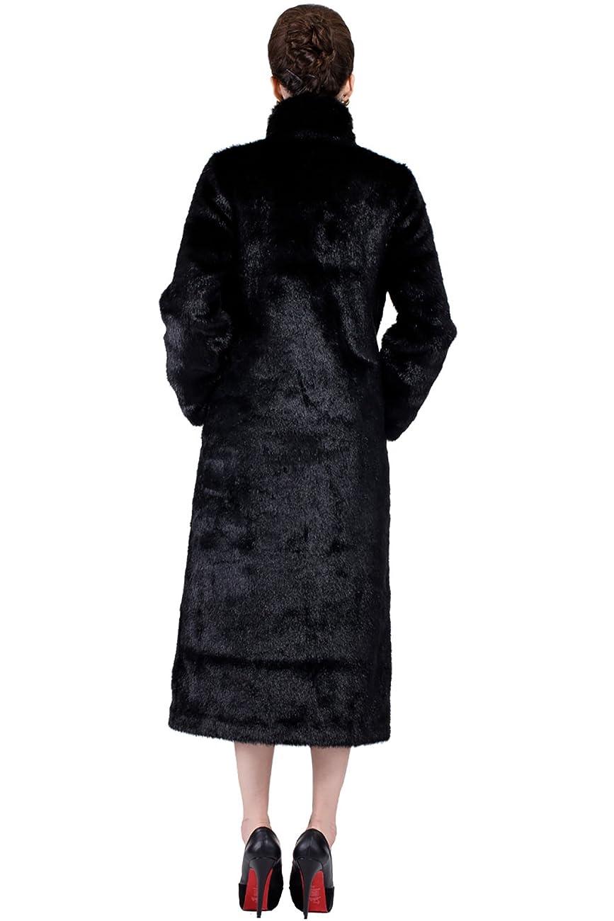 Adelaqueen Women's Elegant and Vintage Outerwear Mink Fabulous Faux Fur Coat 4