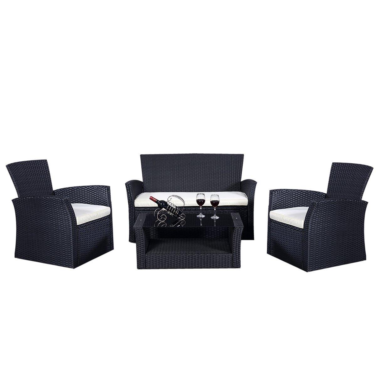 Gartenmöbel Rattan Lounge Set Polyrattan Sitzgruppe Rattanmöbel Garnitur Garten günstig bestellen