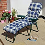 Garden Lounger Chair With Cushion Blue Check