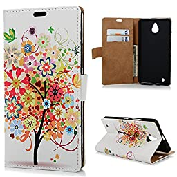 Lumia 850 Case, YOKIRIN Premium PU Leather Book Style Protective Magnetic Closure Flip Folio Wallet with ID&Credt Card Slots View Stand Skin Cover for Nokia Lumia 850 - Colorful Flower & Tree 2