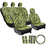 OxGord 17pc Set Zebra Animal Print / Neon Electric Green Auto Seat Covers Set - Airbag Compatible - Front Low Back Buckets - 50/50 or 60/40 Rear Split Bench - 5 Head Rests - Universal Fit for Car, Truck, Suv, or Van - FREE Steering Wheel Cover