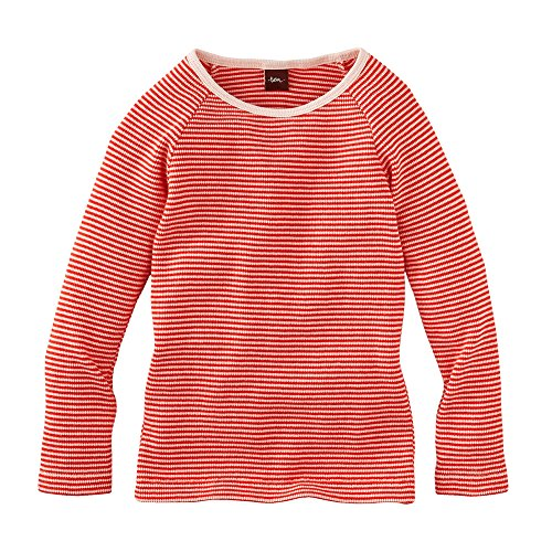 Tea Collection Little Girls 2-6 Kuschelig Striped Thermal Top, Poppy (4T)