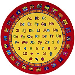 HR 8F T X 8 FT ROUND KIDS EDUCATIONAL / PLAY TIME NON-SLIP AREA RUG (7\' 6\