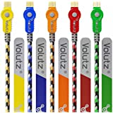 Volutz® 1M Premium Colour Coded Micro USB Cable (Pack of 5) Turbo-Fast, Dependable & Abuse-Friendly USB 2.0 A Male to Micro B Lead Robust Nylon Jacketed & Tangle Resistant [5 Detachable Cable Ties Included] (Cableogy Series) for Samsung, HTC, Motorola, Nokia, Android, Sony and More