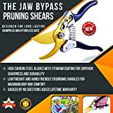 #1 Premium Bypass Pruning Shears ✠ The Toughest Garden Pruner For Trees, Hedges, Shrubs and Roses ✠ Blade Remains Sharp For Longer ✠ Hand Friendly Ergonomic Vinyl Handles For Effortless Cuts