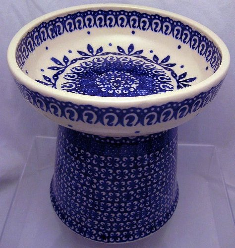 Polish Pottery Raised Food Dish or Water Bowl - Old Poland