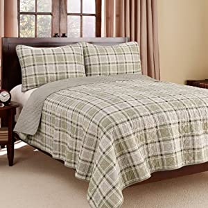 Eddie Bauer Westmont Plaid 3-Piece Cotton Reversible Quilt Set, Twin