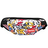 SOPHICATE Man's Waist Packs,Fashion Doodling Hip hop Bags,Fanny Pack with Adjustable Belt,2ways Use Shoulder Bag,Sport Bum Bag Hip Sacks Travel Running Festival Hiking Rave (White) (Color: White)