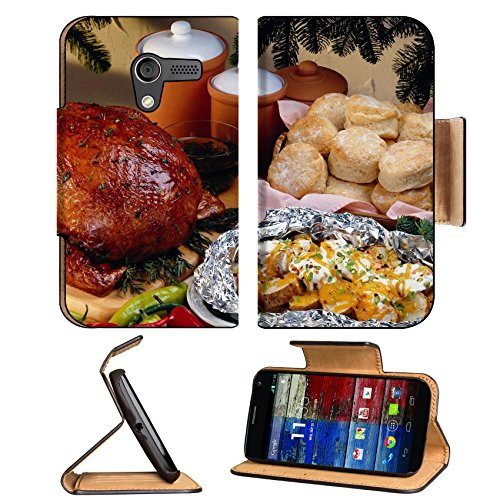 Roasted Chicken Bread Buns Feast Motorola Moto X Flip Case Stand Magnetic Cover Open Ports Customized Made To Order Support Ready Premium Deluxe Pu Leather 5 7/16 Inch (138Mm) X 3 1/16 Inch (78Mm) X 9/16 Inch (14Mm) Luxlady Mobility Cover Professional Mot front-564955