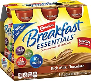 Carnation Breakfast Essentials Ready to Drink 6/8oz Bottles (Pack of 3) Total of 18 - 8oz Bottles - Choose Flavor Below (Rich Milk Chocolate)