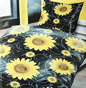 4 teilig bettw sche sonnenblume sommer hauchd nne k hlende microfaser bettw sche 2x 135 cm x. Black Bedroom Furniture Sets. Home Design Ideas