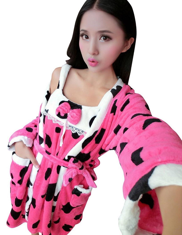 AIVTALK Damen Mädchen Nachtwäsche Set Nachthemd Morgenmantel 2 in 1 Superweich Flanell - Milchkuh Pattern