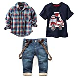 LUKYCILD Baby boy suit plaid shirts+car printing t-shirt+jeans 3pcs (4T, Blue) (Color: Blue, Tamaño: 4T)