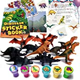 Dinosaur Birthday Party Favors for 12 - 12 Dinosaur Sticker Books, 12 Dinosaur Stampers, 36 Dinosaur Tattoos, 12 Dinosaur Figures (72 Pieces) and Bonus Birthday Party Game Ideas and Planning Tips (Bundle of 5)