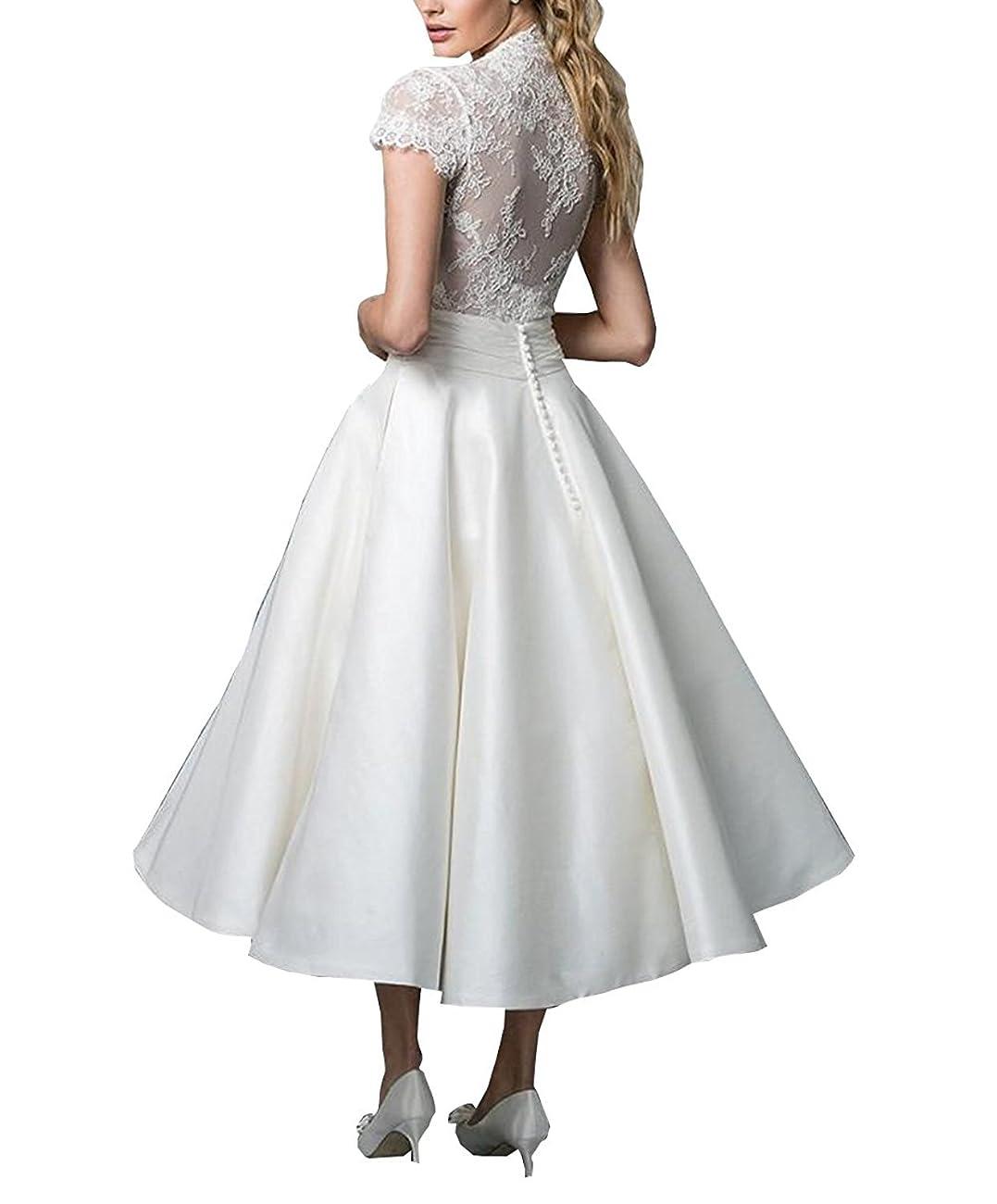 Fashionbride Women's Lace Tea Length A Line Vintage Wedding Dress Bridal Gown F364 1