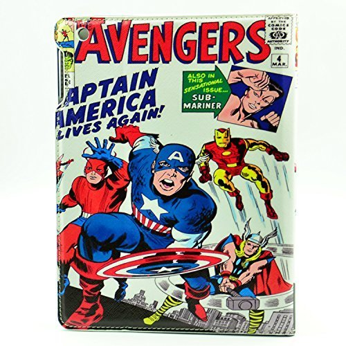 Marvel Comic Captain America The Avengers Design Leather Stand Case Smart Cover For Apple ipad 2 ,ipad 3 ,ipad 4 (Marvel Ipad 2 Case compare prices)
