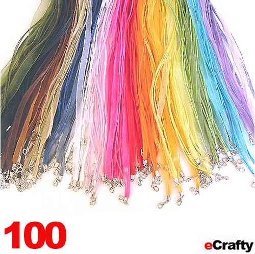 "Neck Cords 3-Strand Organza 18"" Mixed 100Pc Wholesale"