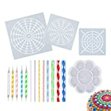 17 PCS Mandala Dotting Tools Stencil Set, 3 Mandala Stencils, 8 Acrylic Rods, 5 Double Sided Dotting Tools and Paint Tray for Painting Rocks Drawing & Drafting, Kids' Crafts, Nail Art, Painting
