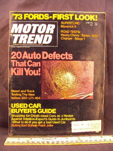1972 72 June MOTOR TREND Magazine (Features: Test Reports on Heavy Chevy, Torino Grand Sport, Pontiac GTO, Dodge Charger, & Corvette)