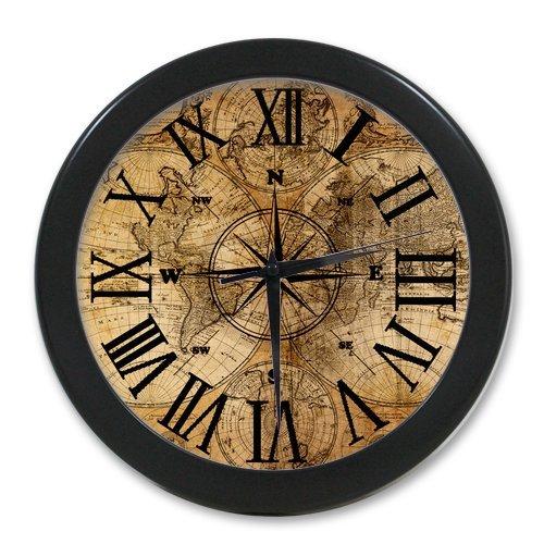 Generic Custom Round Elegant Black Wall Clock Modern - World Map Retro Series Roman Numerals Gorgeous Children Gifts Design