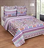 BeautifulHOMES Martin Guptil Cotton Double Bedsheet With 2 Pillow Cover - Purple and Pink