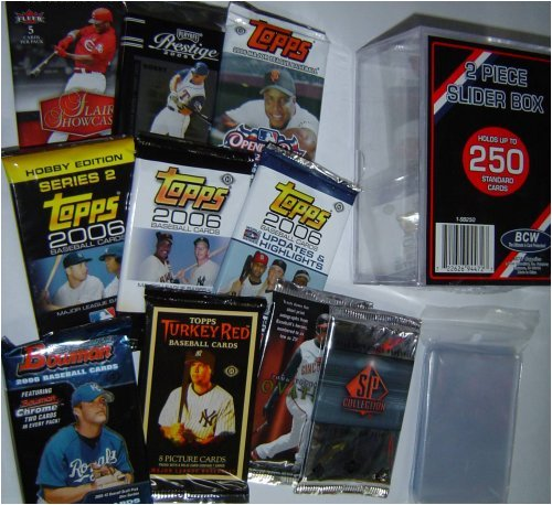 2006 & 2007 Baseball Card Pack Gift Set - Sports Cards Birthday or Christmas Lot - 10 Different Unopened Baseball Packs - Comes with Storage Box and Sleeves - Good Deal - Save Money!