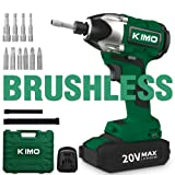 Brushless Cordless Impact Driver - 20V Max Li-Ion KIMO Impact Driver Combo Kit w/ 221ft-lb Torque, 0-2800RPM Variable Speed, 4 lbs Lightweight for Driving Screws or Tightening Nuts Efficiently (Color: Green Impact Driver Combo Kit, Tamaño: Medium)