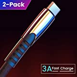 USB C Cable (3A Fast Charging) (2 Pack/6.6FT), Ainope Durable Denim Cloth Type C Cable Cord,USB-A 2.0 to USB-C Cable Charger Compatible with Samsung Galaxy S9 S8 Note 9 8, LG V20 V30 G5 G6 (Color: Black, Tamaño: 6.6ft)