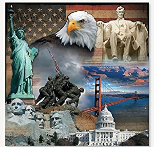 Patriotic Backdrop Banner (6 Ft. X 6 Ft.) - Party Decorations & Backdrops & Scene Setters by Oriental Trading Company