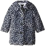 Calvin Klein Little Girls'  Animal Print Faux Fur Coat, Black, 3T