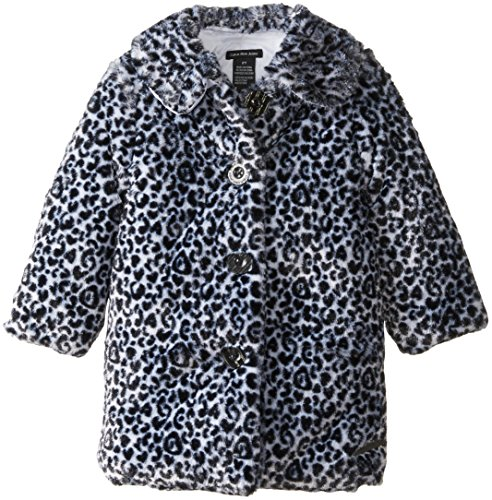 Calvin Klein Little Girls' Animal Print Faux Fur Coat, Black, 4T