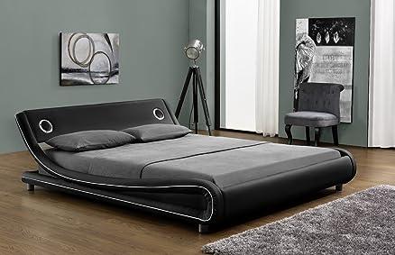 Letto Vibein PU nero con bordino bianco, 2altoparlanti integrati, 160x 200cm