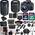 Canon EOS Rebel SL1 18.0 MP CMOS Digital SLR Full HD 1080 Video Body 33rd Street Starter Bundle with EF-S 18-55mm IS STM Lens + Canon 55-250mm IS STM Lens + Wide Angle Auxiliary Lens + Telephoto Auxiliary Lens + Extra High Capacity Battery + Extra Worldwi