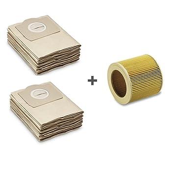 10 staubsaugerbeutel 1 patronenfilter f r k rcher wd p von. Black Bedroom Furniture Sets. Home Design Ideas