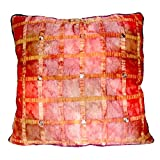 Homeblendz Check Polyester With Beads Rust Tie Dye 40x40 Cushion Cover