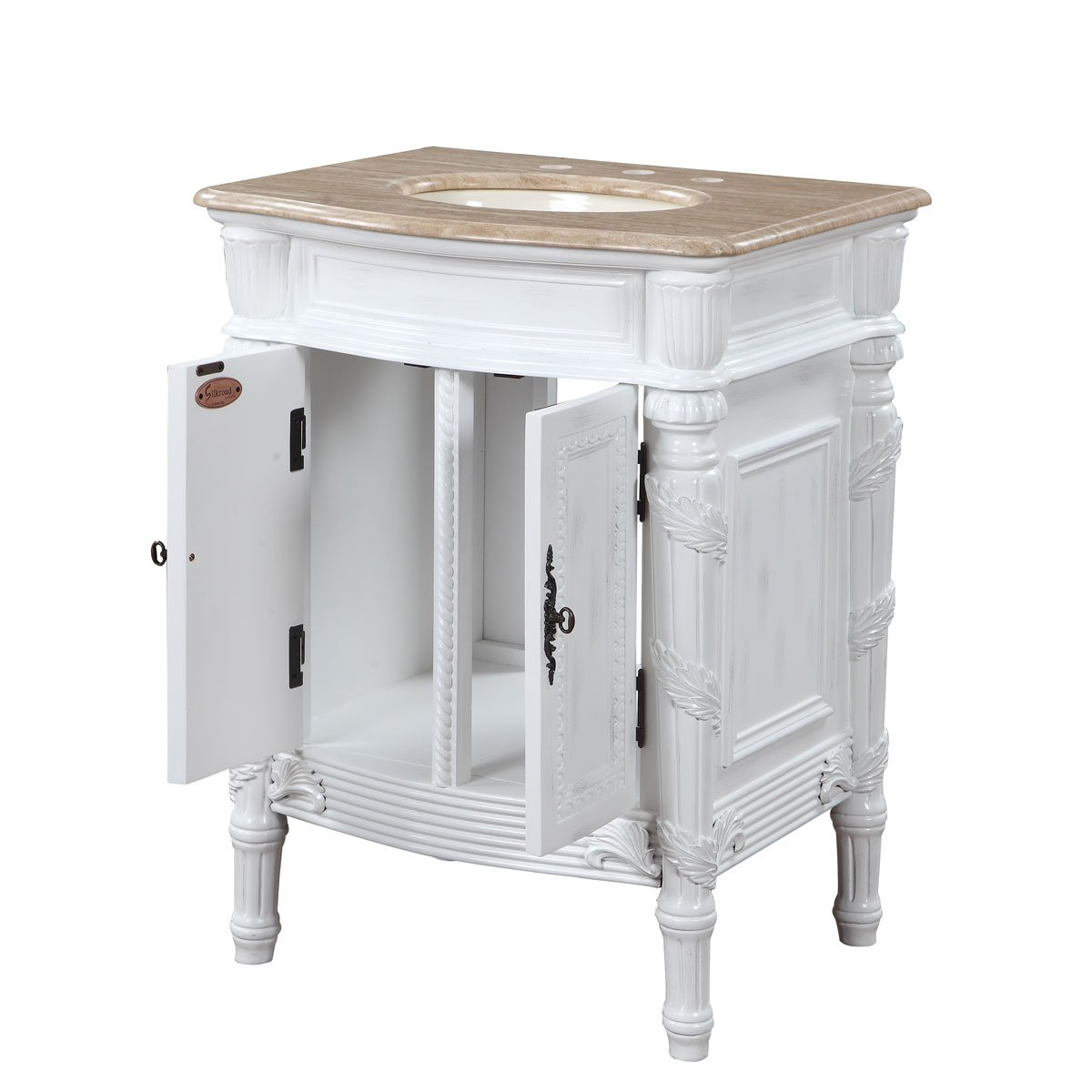 Silkroad Exclusive Travertine Top Single Sink Bathroom Vanity with White Oak Finish Cabinet, 26-Inch 3