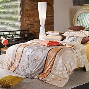 Oriental Peach & Lavender Floral Duvet Cover Set 1100tc - Queen