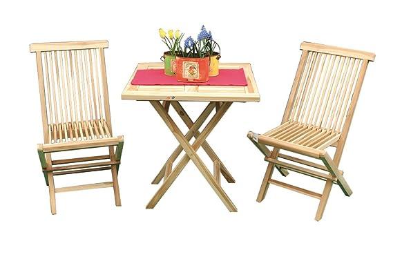 AVANTI TRENDSTORE - Set da giardino in legno con 1 Tavolo e 2 sedie pieghevoli