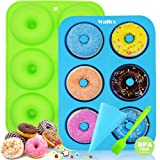 WALFOS 2 Pack Food Grade Silicone Donut Molds,Flexible Donut Baking Pans for Perfect Shaped Doughnuts-Cake Biscuit Bagels - Easy to Pop Out - BPA Free Dishwasher, Oven, Microwave, Freezer Safe