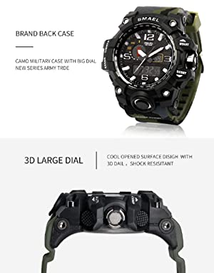 KXAITO Men's Watches Sports Outdoor Waterproof Military Watch Date Multi Function Tactics LED Alarm Stopwatch (Camo_Black) (Color: Camo_Black, Tamaño: large)