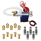 E3D V6 Hot End Full Kit, MYSWEETY 3D Printer J-head Hotend with Fan + 5 Pcs Extruder Brass Print Head + 5 Pcs Stainless Steel Nozzle Throat for RepRap 3D Printers