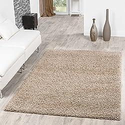 Shaggy Teppich Hochflor Langflor Teppiche Wohnzimmer Preishammer versch. Farben, Farbe:beige;Größe:120x170 cm